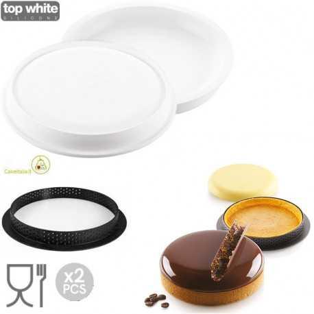 Kit Stampo ad Anello per Crostata e Torta a Disco o Kit Tarte Ring Palet da 15 cm in Silicone da Silikomart