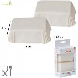 36 Pirottini Bianchi Mini Plum Cake in carta da forno da 8 x 5 cm da Decora