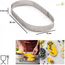 Stampo ad anello ovale microforato per crostate da 20 cm x 9 cm x h 3,5 cm in acciaio inox