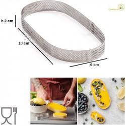 Stampo ad anello ovale microforato per crostatine da 10 cm x 6 cm x h 2 cm in acciaio inox
