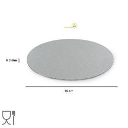 Disco sottotorta sottile argento tondo da 16 cm altezza 3 mm