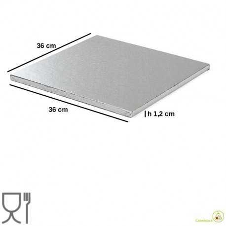 Vassoio sottotorta quadrato argento 36 cm h 1,2 cm in cartoncino rigido per alimenti