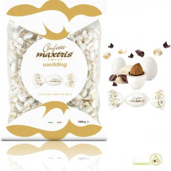 Busta Twist Maxtris bianco wedding da 1 Kg confetti cioco-mandorla classico incartato