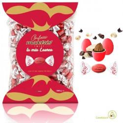 Busta Twist Maxtris Rosso Laurea 1 Kg confetti cioco-mandorla classico incartato
