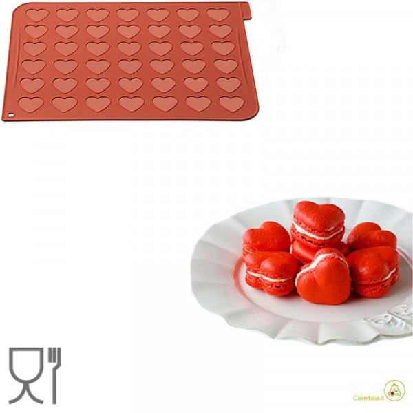 Tappeto in silicone per 21 macarons a cuore da 4 cm, MAC03 da Silikomart