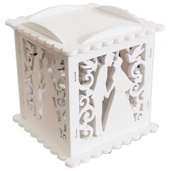 Scatolina portaconfetti in legno con merletti Matrimonio Bianco