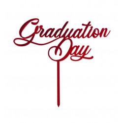 Cake Topper Graduation Day per Laurea colore rosso in Plexiglas effetto specchio da 19 cm