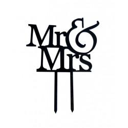 Cake Topper Mr & Mrs matrimonio in Plexiglas ad effetto specchio colore nero lunga 15 cm
