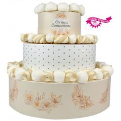 Torta Marshmallow 1° Comunione Fiori e Pois