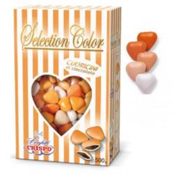 Confetti Cuoricini Mignon sfumati Arancione in confezione da 500 g di Crispo