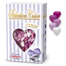 Confetti Cuoricini Mignon sfumati lilla in confezione da 500 g di Crispo