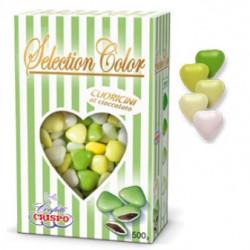 Confetti Cuoricini Mignon sfumati verde in confezione da 500 g di Crispo