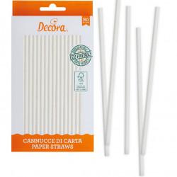 80 cannucce in carta bianca biodegradabile lunghe 21 cm certificate FSC da Decora