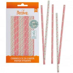 80 cannucce in carta stelle e pois rosa biodegradabili lunghe 21 cm certificate FSC da Decora