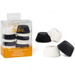 200 Pirottini Mini Muffin bianco nero in carta diametro 32 mm altezza 22 mm da Decora