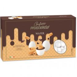 Maxtris Wafer: confetti cioco-biscotto bianco Maxtris da 1 Kg, ideali per confettata.