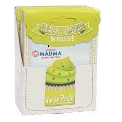 Colorante in polvere verde prato pastello, uso alimentare idrosolubile in bustina da 5 g, di Madma