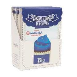 Colorante in polvere blu, uso alimentare, idrosolubile in bustina da 5 g, di Madma