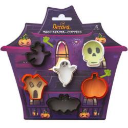 Set 6 mini tagliapasta forme a tema halloween in plastica da Decora