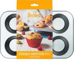 Palteau o Teglia jumbo Muffin per 6 Muffin Giganti diametro 9 cm h 4,5 cm in acciaio antiaderente da Decora