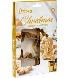 5 Taglia-biscotti Fantasie del Natale in acciaio dorato da Decora