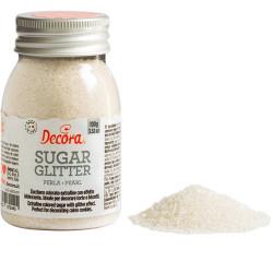 Cristalli di Zucchero bianco perla glitterato, in barattolo da 100 g di Decora.