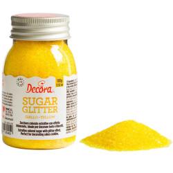 Cristalli di Zucchero Giallo glitterato, in barattolo da 100 g di Decora.