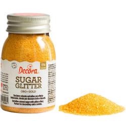 Cristalli di Zucchero Oro glitterato, in barattolo da 100 g di Decora.