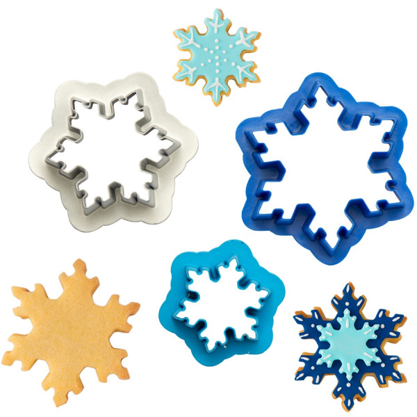 3 Taglia-biscotti Frozen Star Cristalli di Neve in plastica da Decora