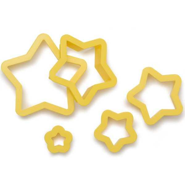 5 Taglia-biscotti Stella in plastica da Decora
