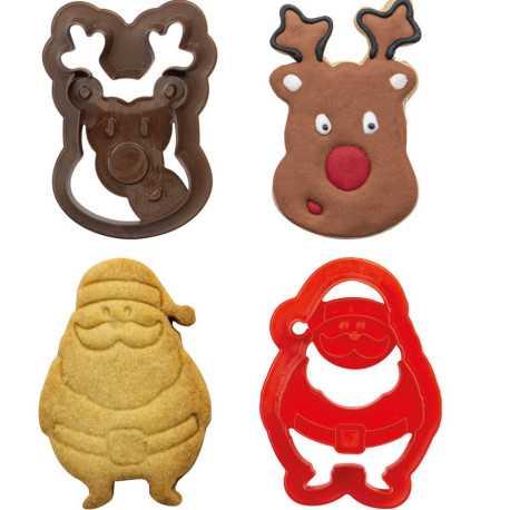 Set 2 Tagliapasta 1 Babbo Natale e 1 Testa di Renna in plastica da Decora