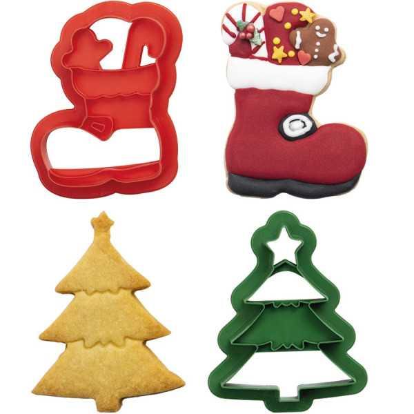 Set 2 Tagliapasta 1 Albero di Natale e 1 Scarpone da Neve in plastica da Decora