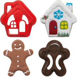 Set 2 Tagliapasta 1 omino gingerbread e 1 Casetta Innevata in plastica da Decora