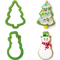 Set 2 Tagliapasta 1 Albero di Natale e 1 Pupazzo di Neve in plastica da Decora