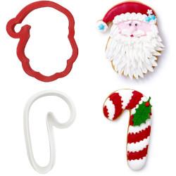 Set 2 Tagliapasta 1 Faccia Babbo Natale e 1 Bastoncino Candy Cane in plastica da Decora