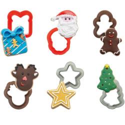 6 Taglia-biscotti Natalizi forme miste in plastica da Decora