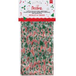 20 Buste sacchetto in plastica per alimenti con decori natalizi 12,5 +3 x h 24 cm