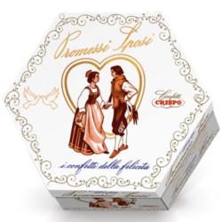 Lieto Evento Promessi Sposi: confetti bianchi in astuccio da 500 g di Crispo