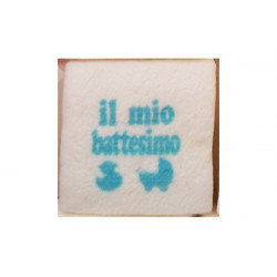 "Marshmallow Quadratino ""Battesimo"" Celeste in busta da 20pz"