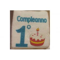 """Marshmallow Quadratino """"Il mio 1° compleanno"""" Celeste in busta da 20pz"""