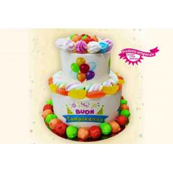 Torta Marshmallow Buon Compleanno con stampa 500 gr