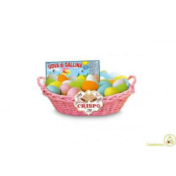 Cesto 20 uova di gallina cioccolata extra fondente confettate da g 35
