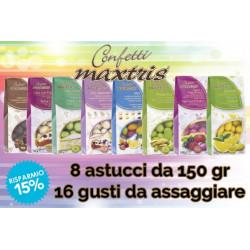Mini confettata Maxtris 16 gusti -  8 astucci da 150gr