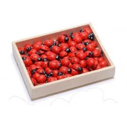 Coccinelle in legno adesive cm 3x2 pezzi 8