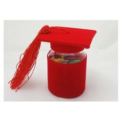 Barattolino portaconfetti Tomo Cappello Laurea Rosso cm 4x6.5