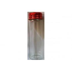 Barattolino portaconfetti in vetro con tappo rosso cm 9