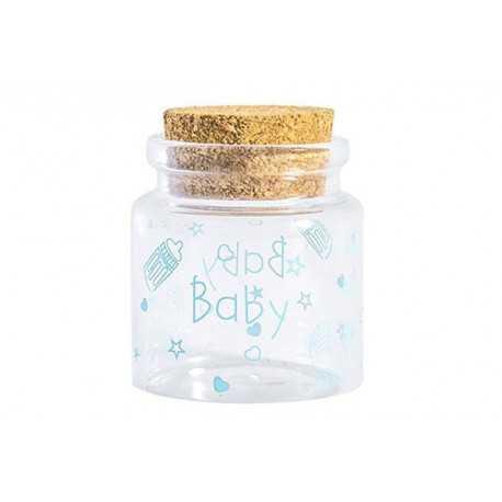 Barattolino portaconfetti con tappo in sughero nascita bambino cm 4.5x4.5