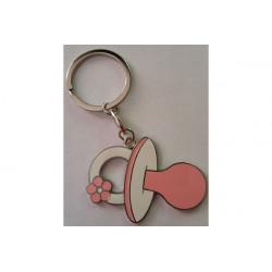 Portachiavi bomboniera ciuccio cm 5 rosa