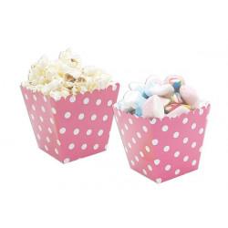 12 coppette pois rosa per marshmallow e popcorn