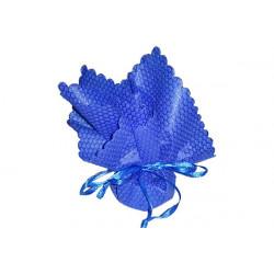 10 pz Fazzoletto portaconfetti con tirante in raso in spugna Tondo colore Blue